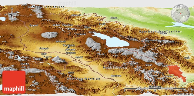 Physical Panoramic Map of Armenia - Sisian toward bottom right