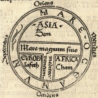 """T and O map Guntherus Ziner 1472"" by Isidore of Seville - extracted from another image: File:Etimologías - Mapa del Mundo Conocido.jpg.. Licensed under Public domain via Wikimedia Commons - This T and O map, which abstracts that society's known world to a cross inscribed within an orb, remakes geography in the service of Christian iconography and identifies the three known continents as populated by descendants of Shem (Sem), Ham (Cham) and Japheth (Iafeth)"