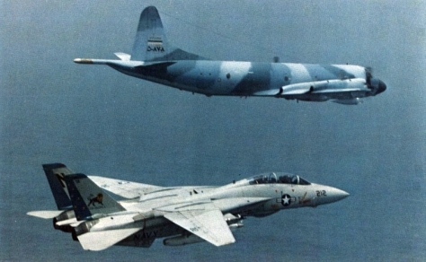 IRIAF Lockheed P-3F Orion intercepted by U.S. Navy Grumman F-14A-105-GR Tomcat