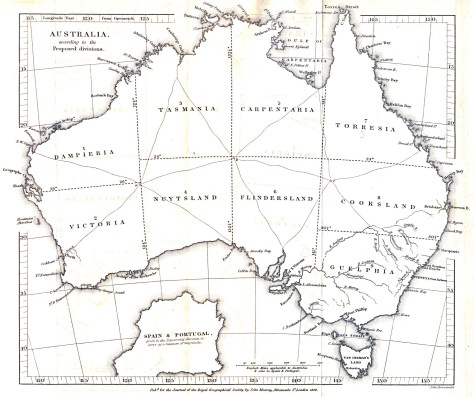 Map of Australia from 1838: Sydney, Port Philip, Bass Strait and Van Diemen's Land (north to south from mid-east coast).