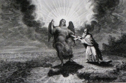 """""""A strong angel [Rev 10] coming down out of heaven ... clothed with a cloud ... the rainbow was upon his head ... His face was like the sun ... feet like pillars of fire ... had in his hand a little book which was open."""" [Wikimedia Commons]"""